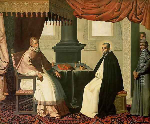 St. Bruno (1030-1101) and Pope Urban II (c.1035-99) 1630-35 Oil Painting - Francisco De Zurbaran