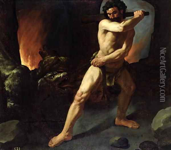 Hercules and Cerberus, c.1634 Oil Painting - Francisco De Zurbaran