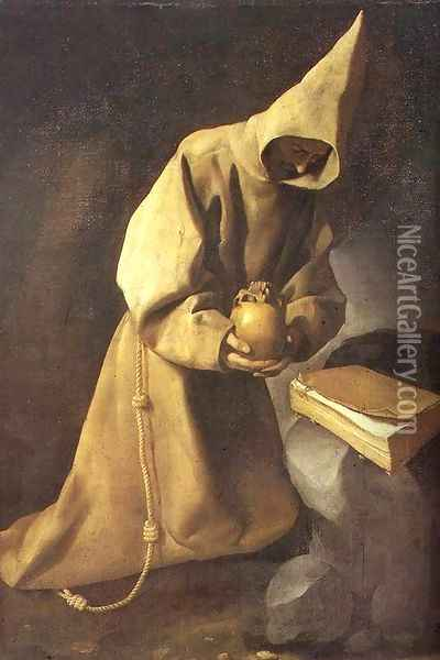 Meditation of St Francis 1632 Oil Painting - Francisco De Zurbaran