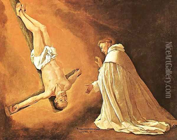 The Apparition of Apostle St Peter to St Peter of Nolasco 1629 Oil Painting - Francisco De Zurbaran