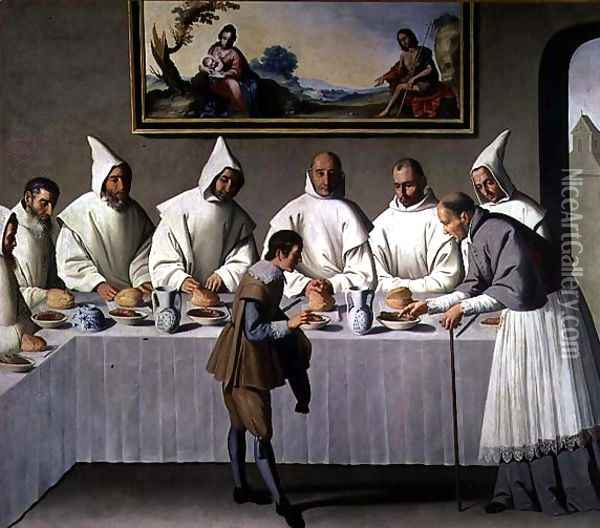 St. Hugh of Cluny (1024-1109) in the Refectory of the Carthusians, 1633 Oil Painting - Francisco De Zurbaran