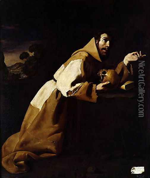 St. Francis in Meditation, 1639 Oil Painting - Francisco De Zurbaran