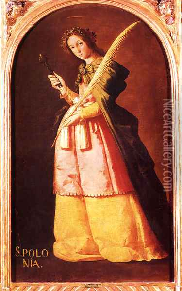 St. Apolonia, Oil on canvas, 113 x 66 cm, Musée du Louvre, Paris Oil Painting - Francisco De Zurbaran