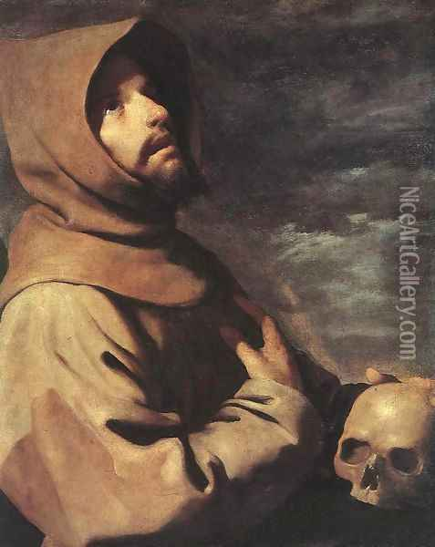 St Francis c. 1660 Oil Painting - Francisco De Zurbaran