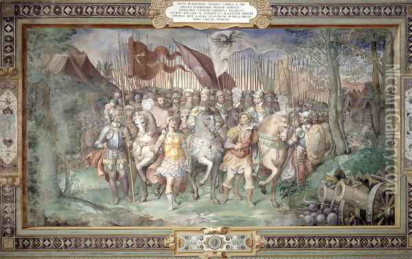 Charles V (1500-58) Alessandro (1546-92) and Ottaviano Farnese Leading the Army Against the Landgrave Phillip of Hesse in 1546 from the Sala dei Fasti Farnese (Hall of the Splendors of the Farnese) 1557-66 Oil Painting - Taddeo Zuccaro