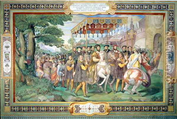 Francis I (1494-1547) and Alessandro Farnese (1546-92) Entering Paris in 1540, from the Sala dei Fasti Farnese (Hall of the Splendors of the Farnese) 1557-66 Oil Painting - Taddeo Zuccaro