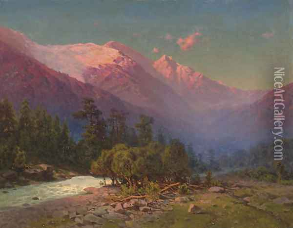 A stream running through snow-capped mountains Oil Painting - Il'ia Nikolaevich Zankovskii