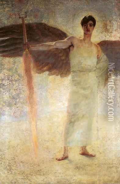 Angel with the Flaming Sword Oil Painting - Franz von Stuck