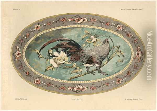 Cock plate 37 from Fantaisies decoratives Oil Painting - Jules Auguste Habert-Dys