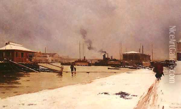 Bas Port Du Pont De Tolbiac Oil Painting - Pierre Louis Leger Vauthier