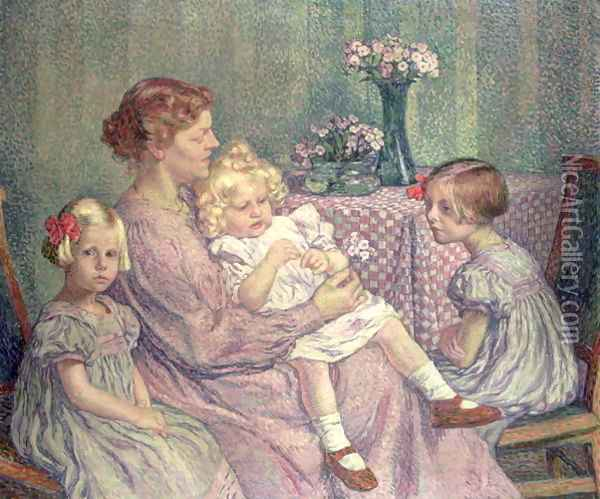 Madame van de Velde and her Children, 1903 Oil Painting - Theo van Rysselberghe