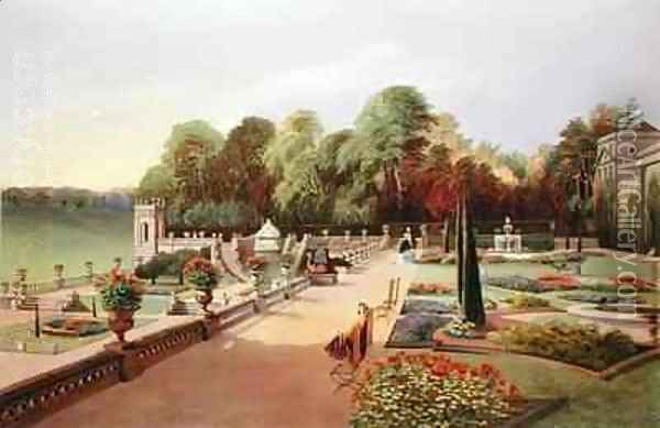 The Upper and Lower Terrace Gardens at Bowood Oil Painting - E. Adveno Brooke