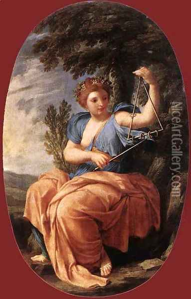The Muse Terpsichore 1652-55 Oil Painting - Eustache Le Sueur