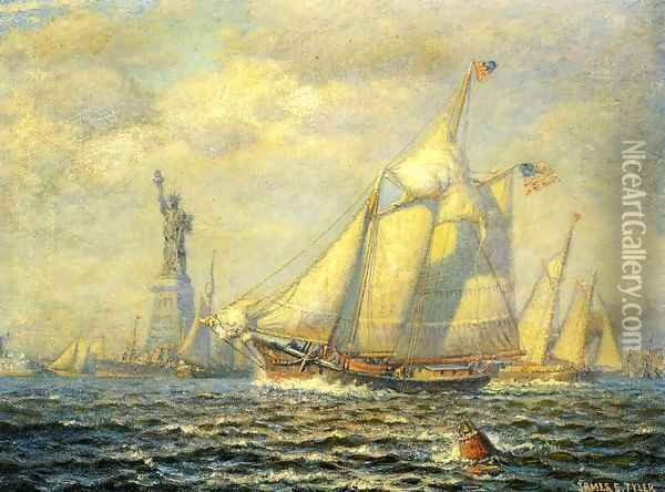 New York Harbor Oil Painting - James Gale Tyler