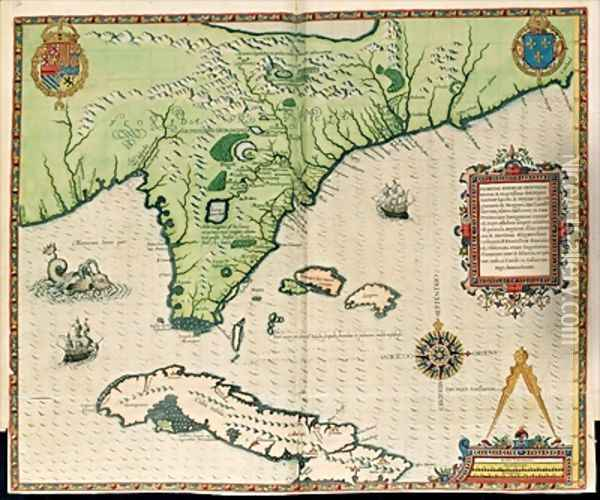 Map of Florida Oil Painting - Jacques le Moyne de Morgues