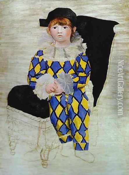 Paulo, Picasso's Son, as Harlequin Oil Painting - Pablo Picasso