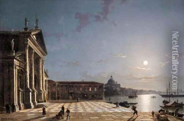 Unloading Cargo From The Grand Canal, Venice, By Moonlight Oil Painting - Henry Pether