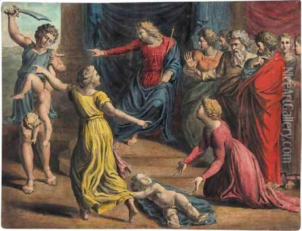 The Judgement Of Solomon Oil Painting - William Blake