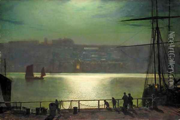 Whitby By Moonlight Oil Painting - John Atkinson Grimshaw