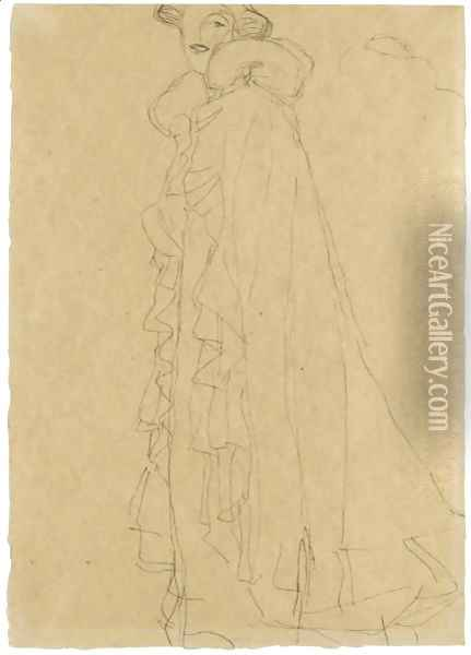 Stehend Nach Links, Skizze Des Kragens Von Hinten (Standing Turned To The Left, Sketch Of The Collar From Reverse) Oil Painting - Gustav Klimt