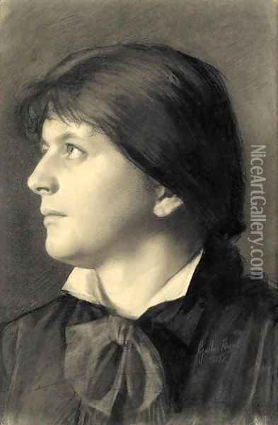 Brustbild Einer Nach Links Aufblickenden Frau (Portrait Of A Woman Looking Upwards To The Left) Oil Painting - Gustav Klimt