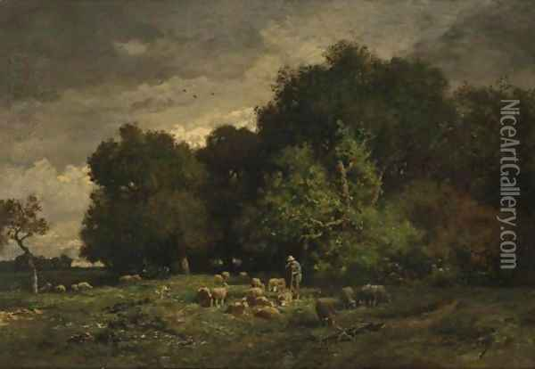 A Shepherd With His Flock Oil Painting - Charles Emile Jacque