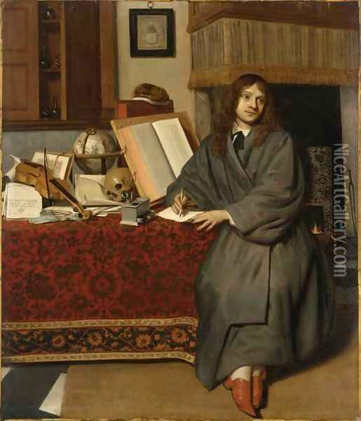 A Portrait Of The Pharmacist Dr Ysbrand Ysbrandsz. (1634-35-1705) Oil Painting - Cornelis De Man