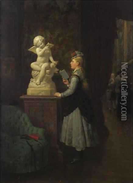 At The Museum Oil Painting - Karl Boker