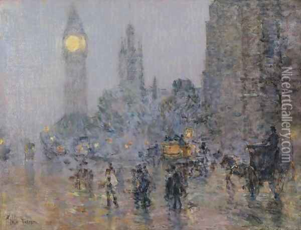 Nocturne-Big Ben Oil Painting - Frederick Childe Hassam