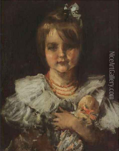 Portrait Of Helen Oil Painting - William Merritt Chase