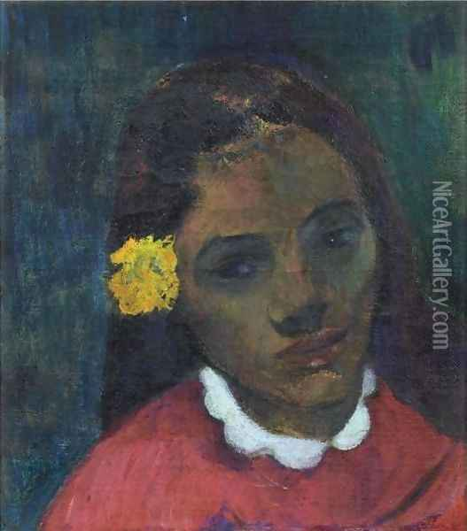 Tete De Tahitienne Or La Fleur Qui Ecoute Oil Painting - Paul Gauguin