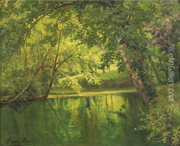 Woodland Pond Oil Painting - Henri Biva