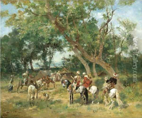 An Encampment In A Clearing Oil Painting - Georges Washington