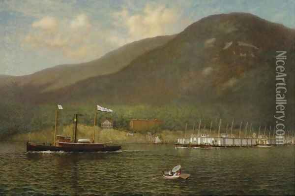 Tug A.C. Cheney Towing Barges Past Bear Mountain Oil Painting - James Gale Tyler