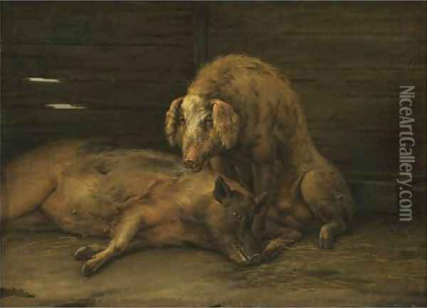 Two Pigs In A Sty Oil Painting - Paulus Potter