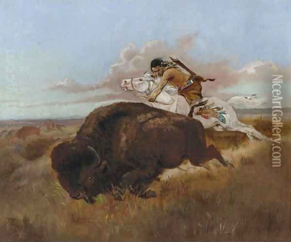 Buffalo Hunting Oil Painting - Charles Marion Russell