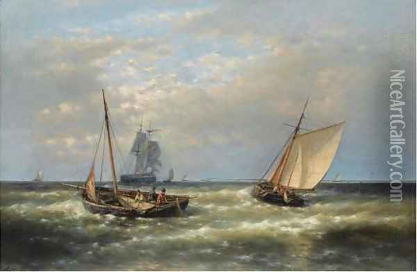 Hauling In The Nets Oil Painting - Abraham Hulk Jun.