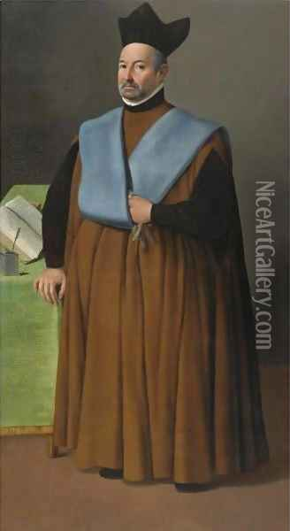 Portrait Of Doctor Juan Martinez Serrano, Full Length Oil Painting - Francisco De Zurbaran