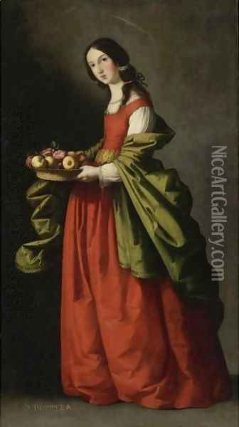 Saint Dorothy, Full-Length, Holding A Basket Of Apples And Roses Oil Painting - Francisco De Zurbaran