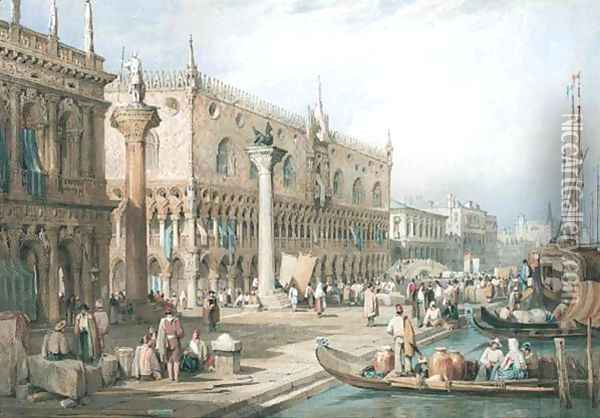 The Doge's Palace From The Waterfront, Venice Oil Painting - Samuel Prout