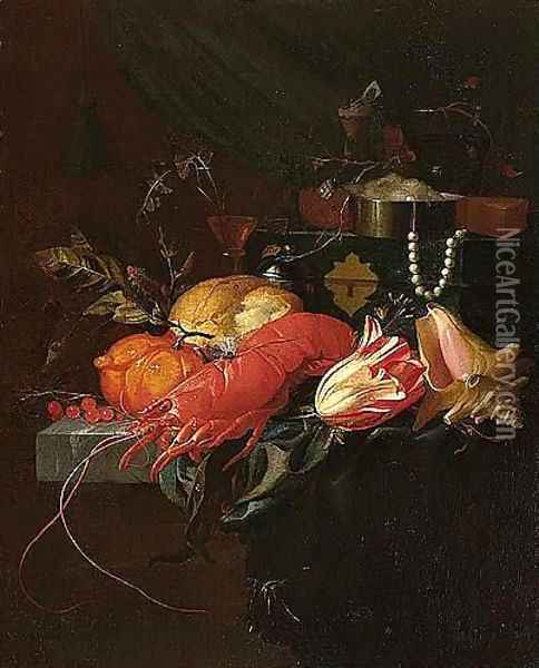 A Still Life Of A Lobster, A Conch Shell, A Tulip, Orange, Redcurrants, Bread, A Salt Cellar And A Wine-glass, Together With A String Of Pearls And A Jewellery Casket Upon A Partly-draped Stone Ledge Oil Painting - Elias van den Broeck