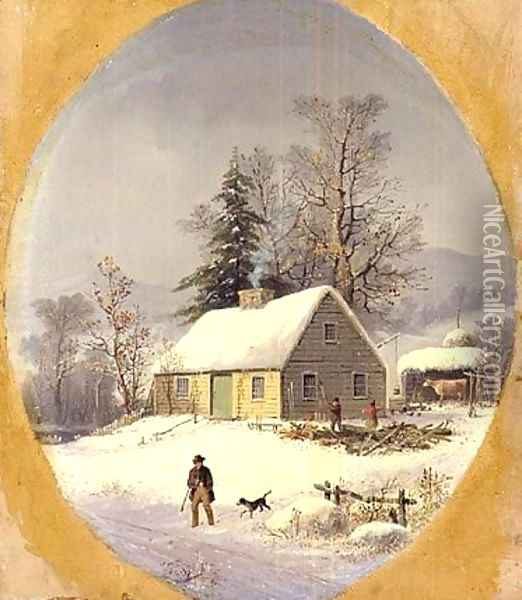 Durrie-christmas 1857 Oil Painting - George Henry Durrie