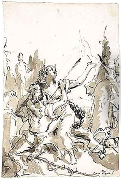 Angelica And Medoro Oil Painting - Giovanni Domenico Tiepolo