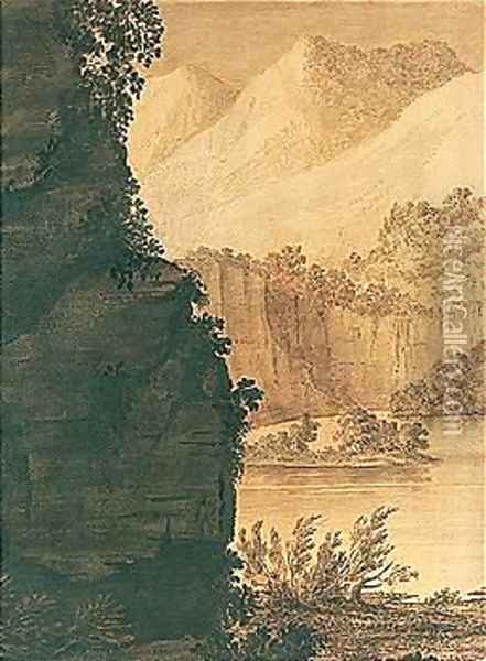 A Mountain Lake Scene Oil Painting - Alexander Cozens