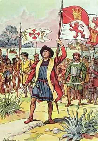 Christopher Columbus (1451-1506) plants the Spanish flag into the soil Oil Painting - J. L. Beuzon
