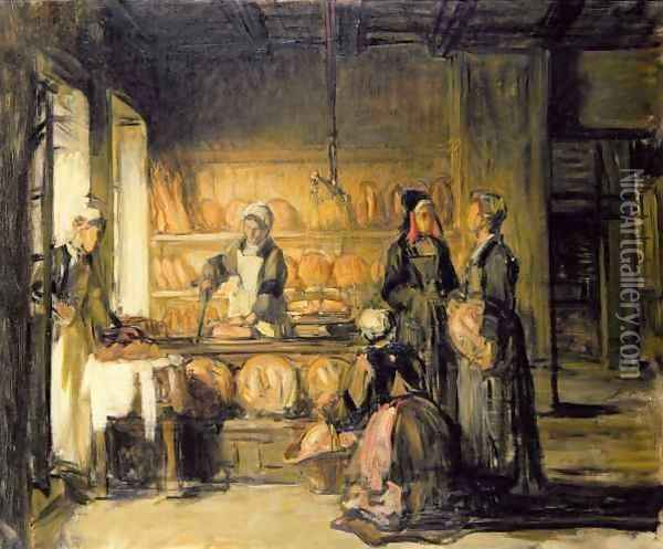 Interior of a Breton Boulangerie Oil Painting - Joseph Bail
