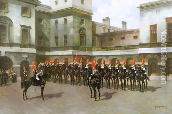 The Blues and Royals, Guard Mounting Parade, Whitehall Oil Painting - Charles Edouard Armand-Dumaresq