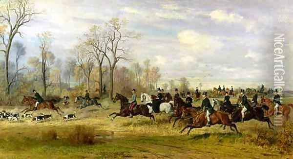 Emperor Franz Joseph I of Austria hunting to hounds with the Countess Larisch in Silesia Oil Painting - Emil Adam