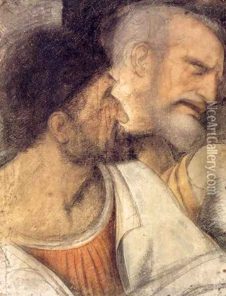 Heads of Judas and Peter Oil Painting - Leonardo Da Vinci