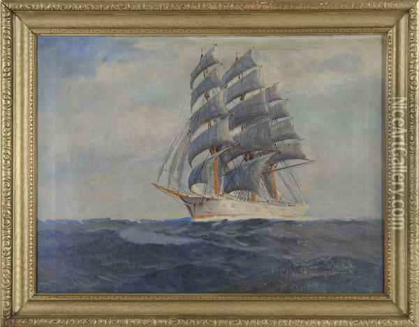 Clipper Ship Under Sail Oil Painting - T. Bailey